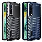ivoler 2 Unidades Funda para OPPO Find X2 Pro, [Fibra de Carbono] Carcasa Ligera Silicona Suave TPU Gel Bumper Caso Case Cover con Shock- Absorción (Negro+Azul)