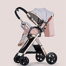 YXCKG Sistema de Viaje para Cochecito, Baby Baby Strollers Transformación inversa o hacia adelante Silla de Paseo antichoque con Dosel Ajustable, Marco Dorado (Color : Pink)