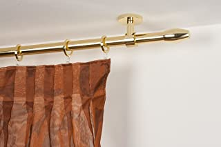 Curtain Rod 08 Inch Lenght 117 Polished Brass Complete
