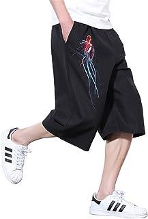 Infabe サルエルパンツ メンズ ズボン ワイドパンツ サルエル ファッション 麻 七分丈 ショートパンツ カジュアル 夏 無地 調整紐 ゆったり 通気性 大きいサイズ