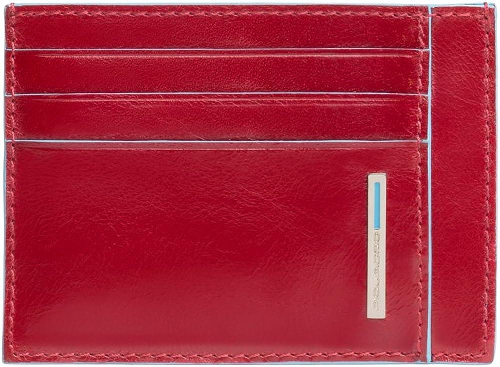 Piquadro, porta carte di credito in vera pelle, rosso PP2762B2D