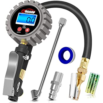 """Oasser Tire Inflator with Gauge Tire Pressure Gauge Inflator 255PSI Air Compressor Accessories with Brass Air Chuck Dual Head Air Chuck 1/4"""" NPT Digital Backlit LCD P5"""