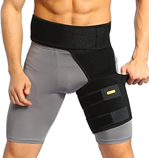 Yosoo Groin Support, Adjustable Groin Strain Pain Wrap Hamstring Support One Size Fits Most - Neoprene Brace with Stick St...