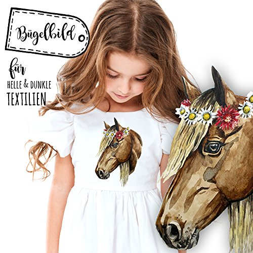 ilka parey wandtattoo-welt® Bügelbilder Applikation Bügelbild Aufbügelbilder Pferd Applikationen Pony Pferde bb030