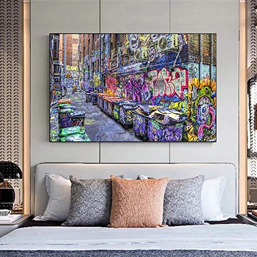 ZLARGEW Cartel de Pintura en Lienzo de Arte Callejero de Graffiti de la Ciudad de Nueva York e Impresiones imágenes artísticas de Pared para decoración de Sala de estar-60x80cm sin Marco