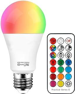 Ampoules LED RGB Couleur Changement Dimmable 10W LED Bulbs E27 RGBW avec Télécommande Sans Fil,RGB 12 choix de couleur+Bla...