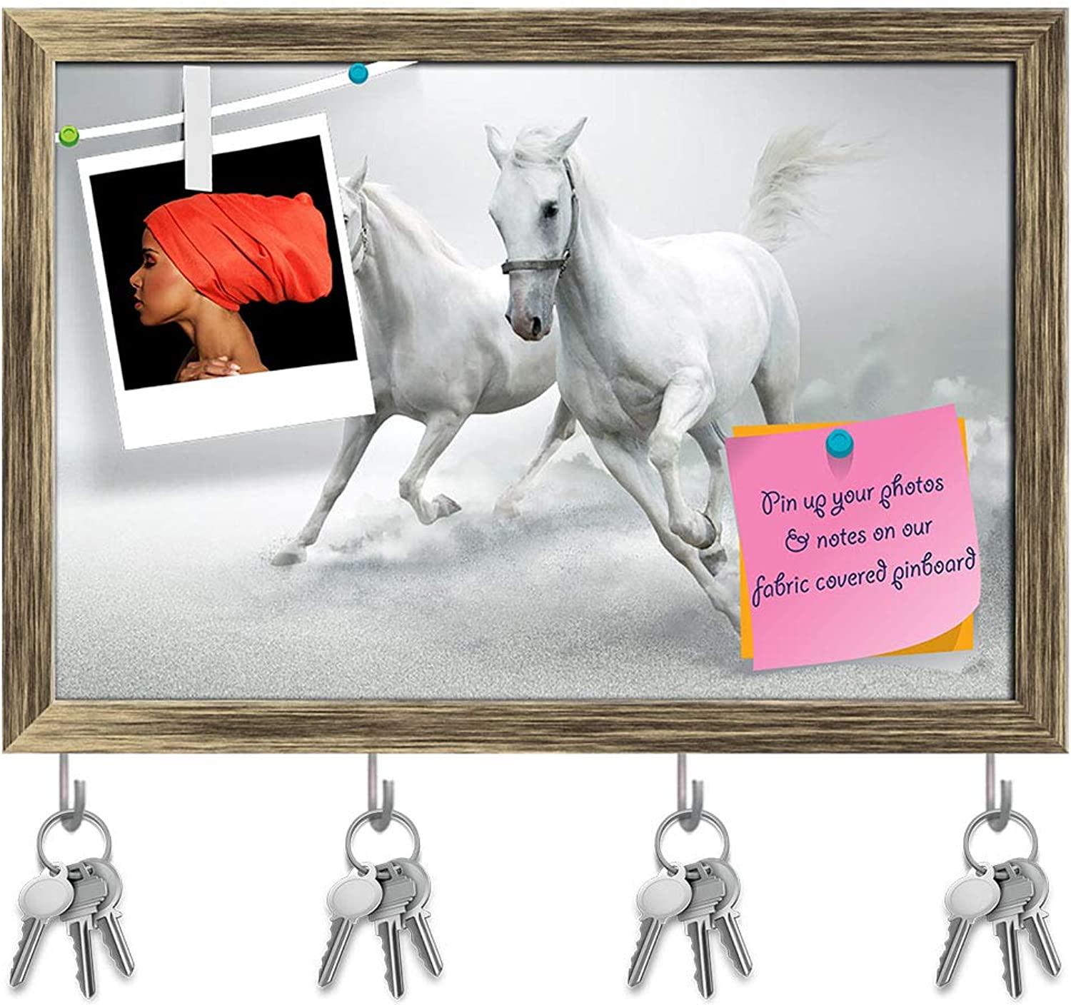 Artzfolio White Horses D6 Key Holder Hooks   Notice Pin Board   Antique golden Frame 17.5 X 12Inch