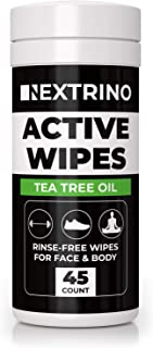 Tea Tree Oil Active Wipes [45 Ct] Cleansing Face and Body Wipe for Men and Women - Biodegradable & Rinse Free: No Shower, No Bath, No Problem - Gym Friendly Travel Container