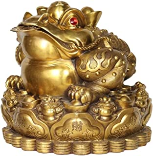 Xkun Feng Shui Decoration Wealth Frog Statue, Brass Money Frog / 蟾蜍 (Three Legs) in Treasure Coins, attracting Wealth and ...
