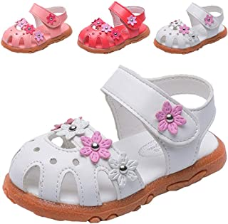 DADAWEN Girl's Summer Soft Closed-Toe Princess Flower Outdoor Casual Sandals (Toddler/Little Kid)