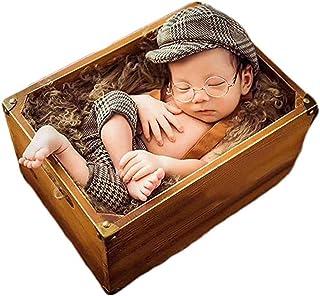 Newborn Baby Photography Props Boy Photo Shoot Outfits Infant Gentleman Lattice Hat Rompers Suit