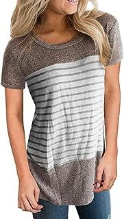 Women Short Sleeve Triple Color Block Stripe T-Shirt Casual Blouse