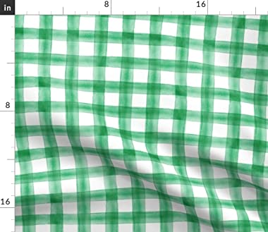 Roostery Duvet Cover, Irish Kelly Green Gingham Check Watercolor Plaid Little Arrow Buffalo St Patricks Day Print, 100% Cotto