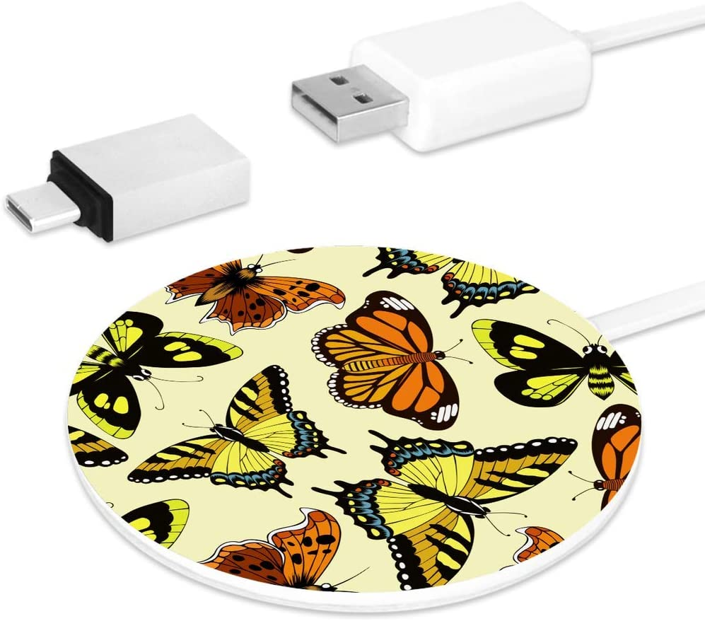Monarch Butterfly Pattern Wings On White 3 in 1 USB Multi Function Charging Cable Data Transmission USB Cable for Mobile Phones and Tablets Compatible with Various Models with Storage Bag