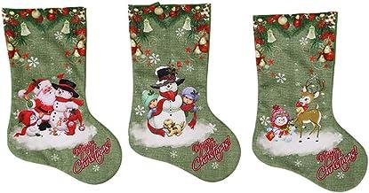 LIOOBO 3pcs Christmas Stockings Santa Snowman Elk Gift Candy Pouch Sock Hanging Bags Treat Holder Ornament for Seasonal Ho...