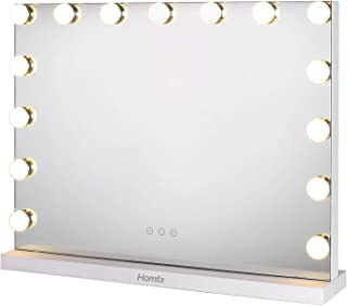 Vanity Mirror with LED Lights Makeup Mirror Hollywood Cosmetic Mirror with 15 LED Bulbs and 3 Dimmable Lights for Makeup D...