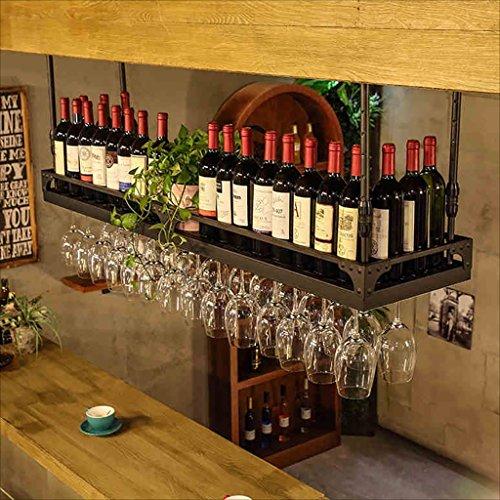 HaohaoCD Barre Sospensione Bancone Bar Cremagliera del Vino Restaurant Casalinghi Bicchieri di Vino Rack invertito Retro Arte del Ferro Cremagliere de
