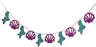 Mermaid Theme Garland Mermaid Seashell Party Banner, Party Supplies for Kid Birthday Party Decoration