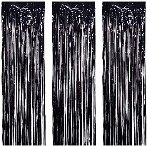3 Pack Foil Curtains Metallic Foil Fringe Curtain for Birthday Party Photo Backdrop Wedding Event Decor (Black)
