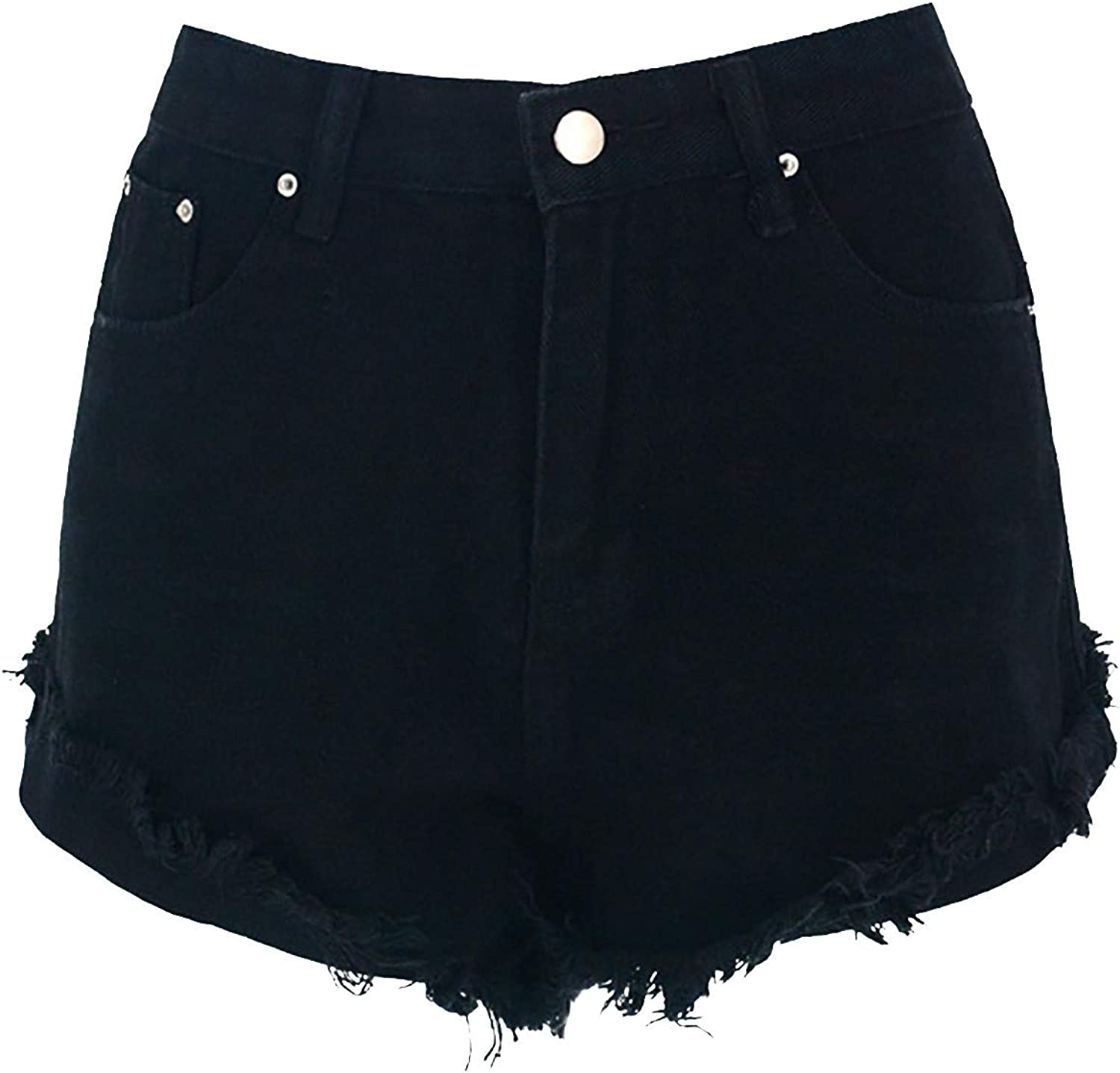Women High Waisted Ripped Hole Denim Short Jeans Washed Distressed Sexy Denim Shorts Rolled-Up Hot Pants Straight Shorts