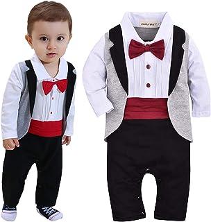 ZOEREA Säuglings Babys scherzt Kinder Kleidungs Mantel Weste Spielanzug der Ausstattungs Overall mit Langen Ärmeln Baumwolle Kleidung,Rot Krawatte,12-18 Monate 95