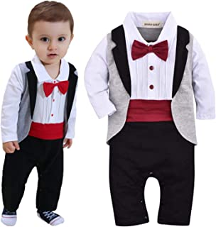 1pc Baby Boys Tuxedo Gentleman Onesie Romper Jumpsuit Wedding Suit 3-18 M