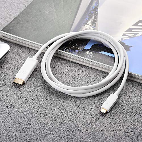 Cable Matters USB C to HDMI Cable (USB-C to HDMI Cable) Supporting 4K 60Hz in White 6 ft - Thunderbolt 3 Port Compatible with MacBook Pro, Dell XPS 13, HP Spectre x360, Surface Pro and More