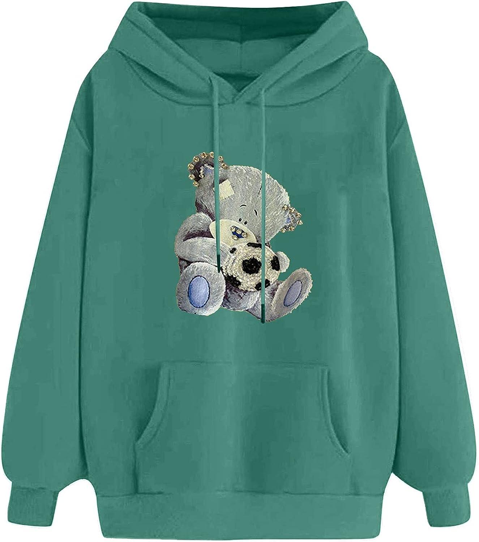 Women Koala Print Hooded Sweatshirt Casual Cute Drop Shoulder Long Sleeve Tops Hoodies Teens Girls Hoodie Pullover