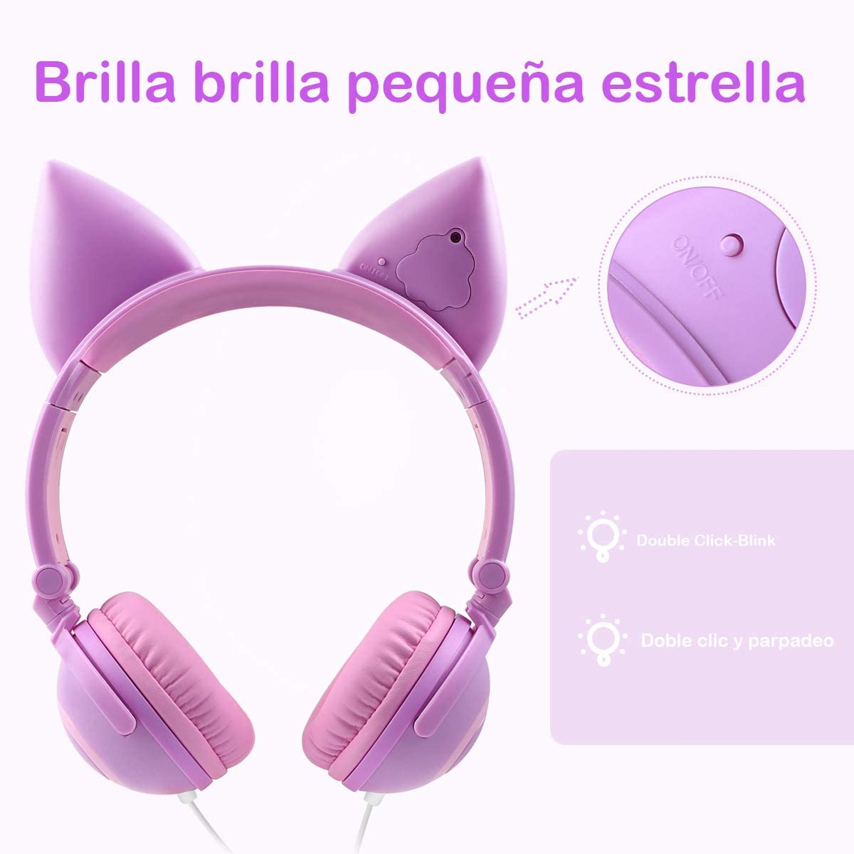 Amarillo + P/ÉTALO Auriculares ni/ña,Cascos ni/ña,Auriculares Orejas de Gato,Cascos ni/ña,Auriculares Infantiles ni/ña,Auriculares,audifonos de Gato,Auriculares Infantil,Auriculares Rosa