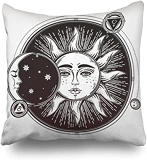 Throw Pillow Covers Vintage Hand Drawn Sun Eclipse Planets Objects Boho Square Size 20 x 20 inches Decorative Pillow Cases Home Decor Zippered Bedroom Sofa Pillowcase