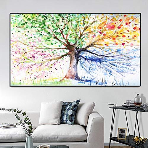 Poster Aquarell Baum Zusammenfassung Rich Tree Leinwand Malerei Wandbilder für Wohnzimmer Dekor Cuadros Malerei A 30x40cm