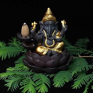 TULLE HOT- Ganesha Burner - Cerámica backflow incienso quemador Elefante Dios incienso Base hogar Decoración Ganesha Arena púrpura sándalo figuras - - 1 PCs