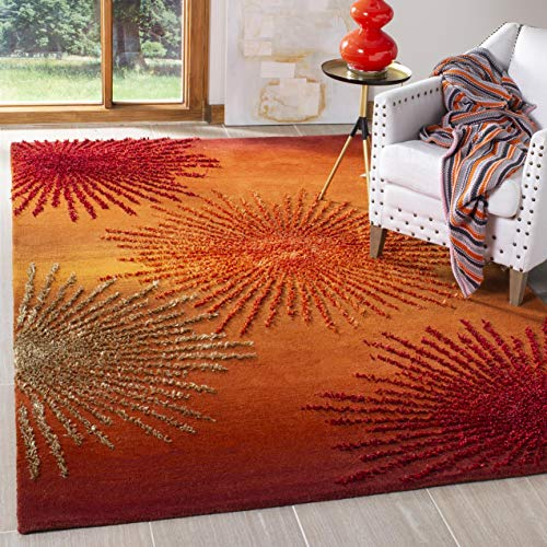 Safavieh Soho Collection SOH712R Handmade Fireworks Rust and Multicolored Premium Wool Area Rug (5'...