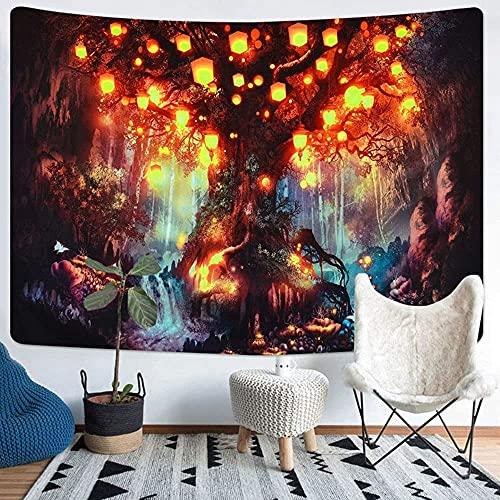Tapices del Castillo del Bosque, Tapiz Abstracto Hippie Tapiz de Cuento de Hadas, Tapestry Decoración,(150cm × 200cm)Aplicar para Tapestry Decoración de Pared para Dormitorio Sala de Estar