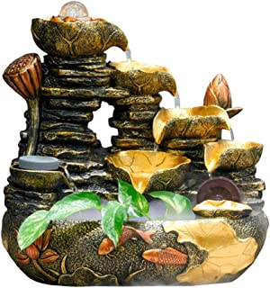 Indoor Fountain Water Feature Zen Feng Shui Table Top Desk Ornament Relaxation Water Sound,A+Height35cm