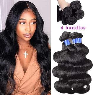 Gluna Hair Brazilian Body Wave 4 Bundles 8A 100% Unprocessed Virgin body wave Human Hair Extension Hair Weave Weft Natural Color (24 26 28 30inch)