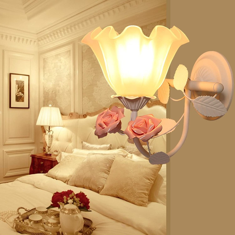 GBT Retro Mode Schmiedeeisen Blaume Idyllische Home Wandleuchte Schlafzimmer Wohnzimmer Korridor Wandleuchte,1