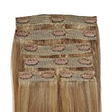 Deluxe, Quadruple Weft, FULL HEAD, Real Clip-in Hair Extensions - 100% Remy, Luxury Soft, Human Hair, (20 inch, 6pcs, 235g, 18/8 - Light Brown, Brunette, Golden Blonde Blend)