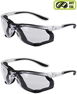 Magid Y84BKAFC Safety Glasses   Sporty Foam Lined Scratch Resistant Safety Glasses with a Clear Frame, Clear Lens & Black TPR Temples - Anti-Fog Coating, Removable EVA Foam Lining (2 Pair)