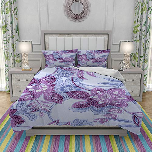 REIOIYE Duvet Cover Set-Bedding,Purple Blue Victorian Background,Quilt Cover Bedlinen-Microfibre 140x200cm with 2 Pillowcase 50x80cm