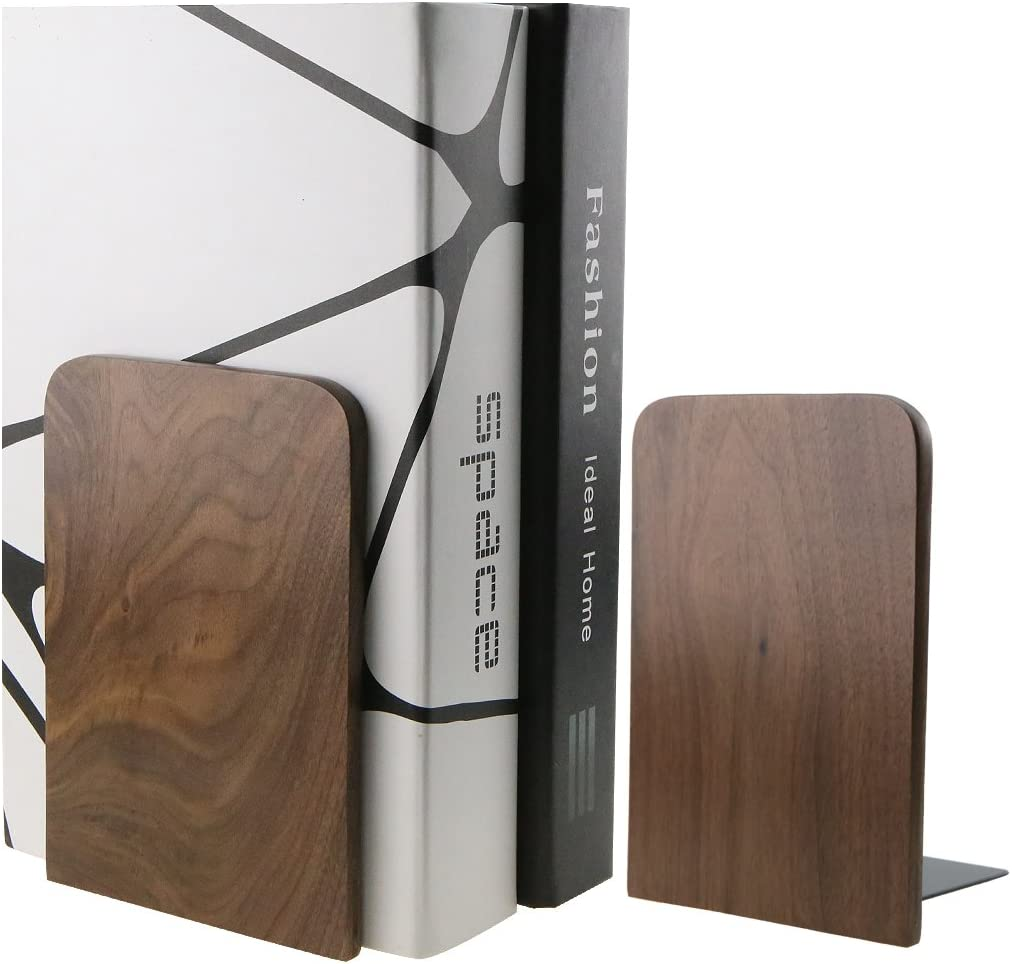 Nature Max 48% OFF Walnut Wood Bookends Ends Book New popularity Bookshelf Organizers