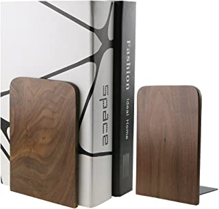 Nature Walnut Wood Bookends Book Ends Book Organizers Bookshelf for Library School Office Home Decoration Kids Study Gift...