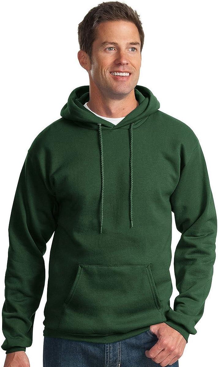 Port & Company Men's Pullover Pocket Hooded Sweatshirt, Dark Green, Large