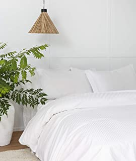 White Duvet Cover Queen, Classic Damask Pinstripe Pattern, 100% Long Staple Cotton with Silky &Luxury Sateen Woven, Cool & Breathable, Luxury Royal Hotel Style Clean Look Duvet Cover