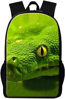 Vintage Green Snake Snakeskin School Backpack for Children Casual Lightweight Water-Resistant Backpack