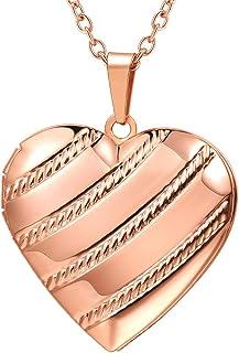 "U7 Women Girls Locket Necklace Platinum /18K Gold Photo Lockets Pendant with Rolo Chain 22"", Birthday/Anniversary, Free Custom Engrave Back Side"