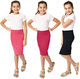 KIDPIK 3-Pack Pencil Skirts - Knee Length Skirt for Girls 4 Years & Up - Comfy Modest Clothing - 3 Colors/Set…