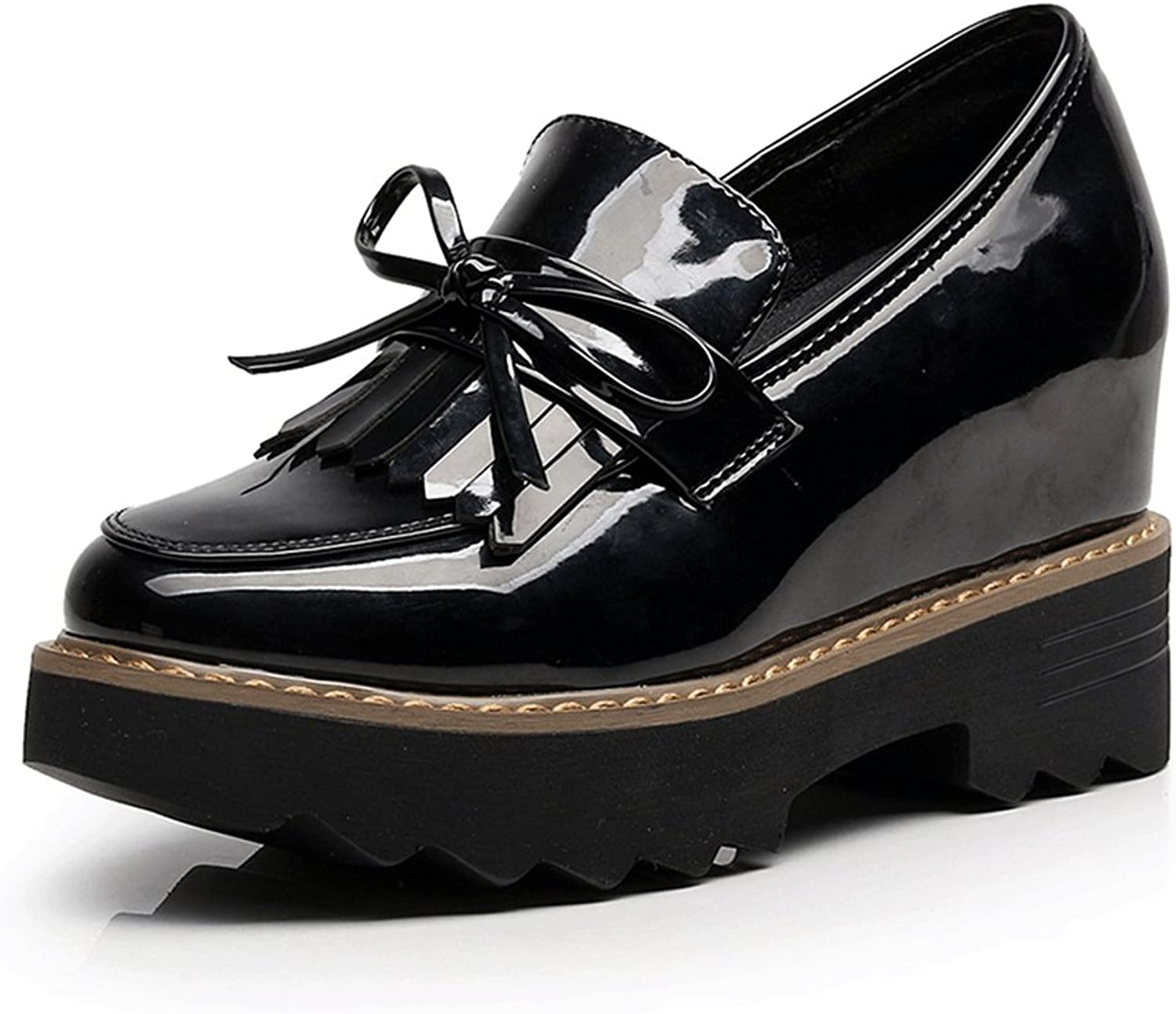 CYBLING Fashion Women Black Slip On Patent Leather Oxford shoes for Walking