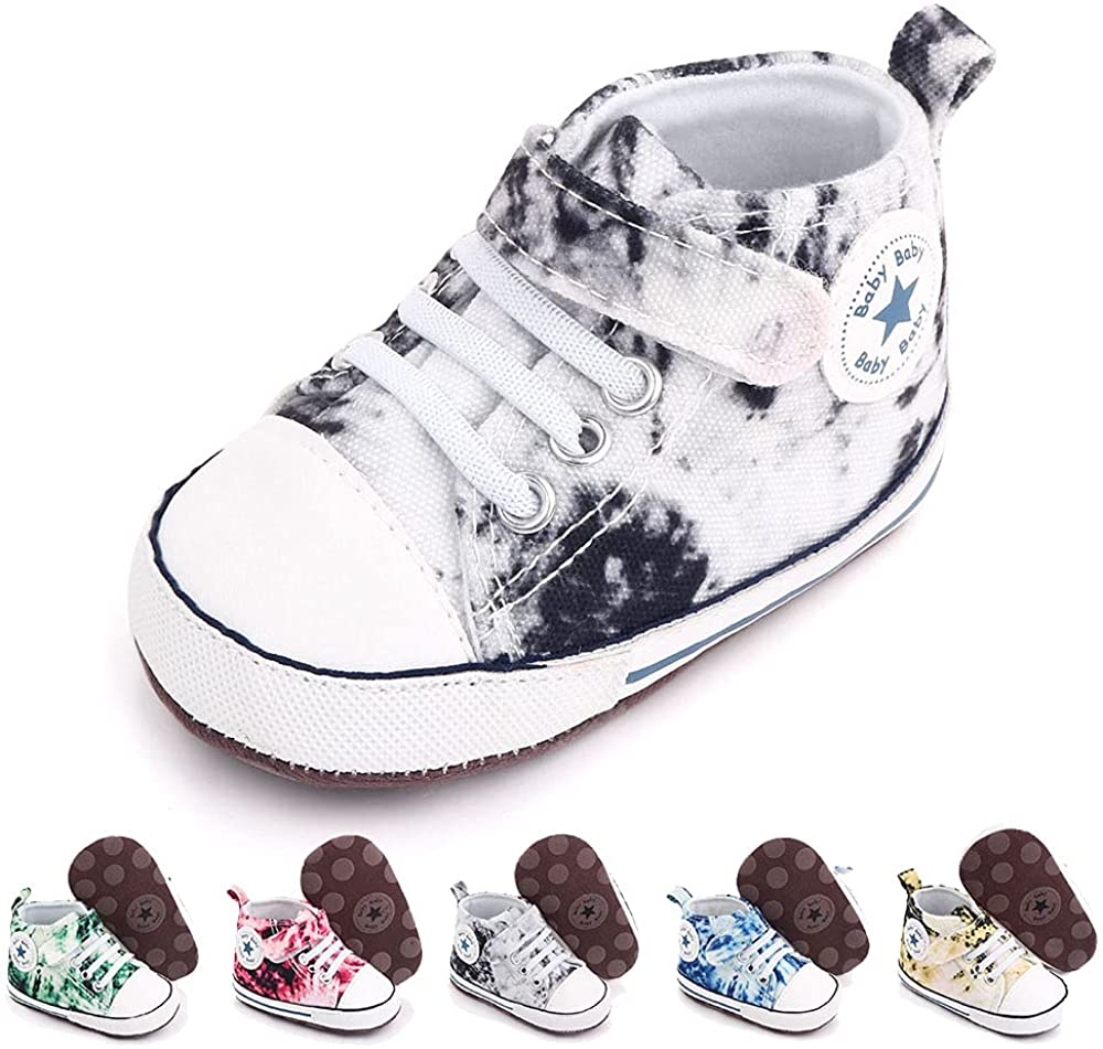 Baby Girls Boys Shoes Soft Anti-Slip Sole Newborn First Walkers Star High Top Canvas Denim Unisex Infant Sneaker