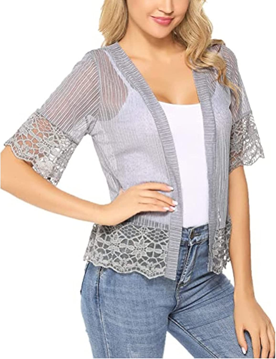 Women Short Sleeve Lace Shrug Open Front Cardigan Button Down See Through Patchwork Y2K Mesh Crop Cardigans